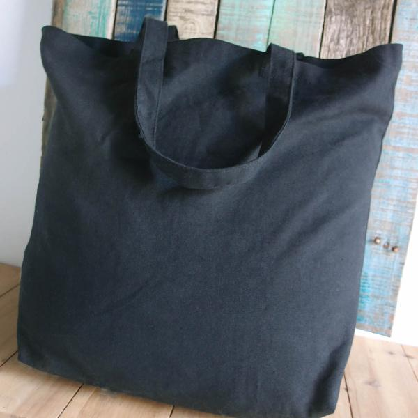 "Black Cotton Canvas Tote Bag 18x15 - 18"" x  15"" x  5 3/4"""