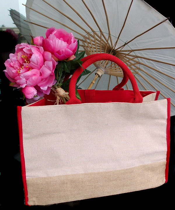 "Jute Cotton Blend Tote with Red Cotton and Burlap Accents - 17 1/2""W x 11 1/2""H x 8 1/2""D"
