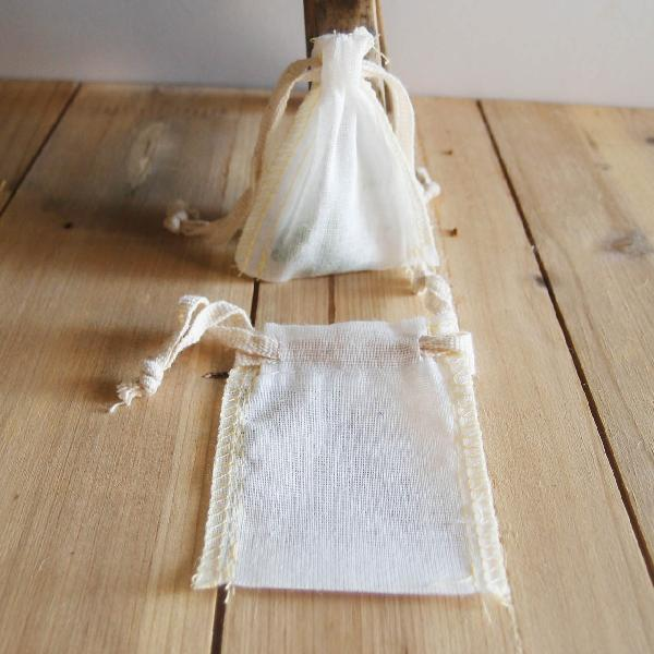 "Natural Muslin Bags with Serged Edge 2x3 - 2"" x 3"""
