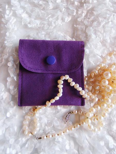 "Velvet Jewelry Pouch with Snap Fastener - 3"" x 3"""