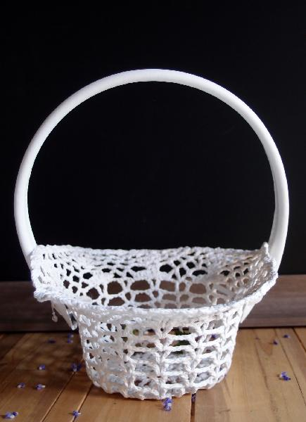 "Stiffened Lace Flower Girl Basket - 4"" dia bottom, 8.5""dia top, 4.5""H"