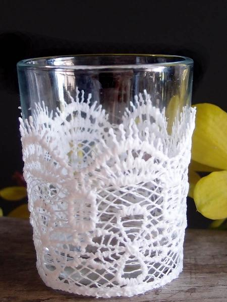 "Lace and Glass Votive Holder  - 2 1/8"" W x 3 ""H"