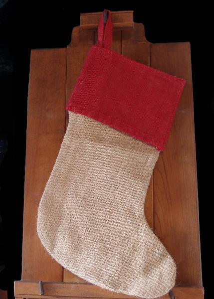 "Burlap Stocking Red Cuff with Cotton Lining 17 inch - 8""W x 17""H x 12""Bottom Width"