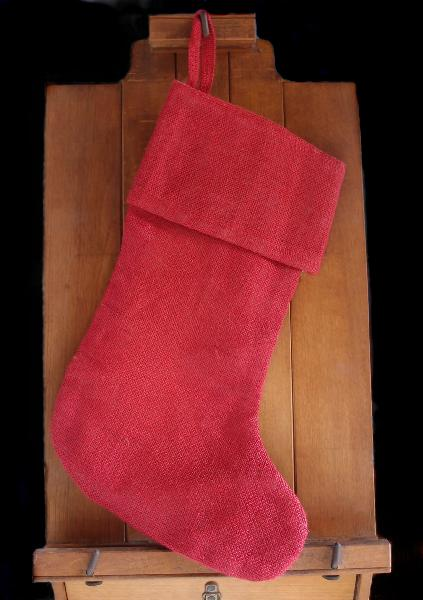 "Red Burlap Christmas Stocking 17 inch - 8"" x 17""H x 12"""