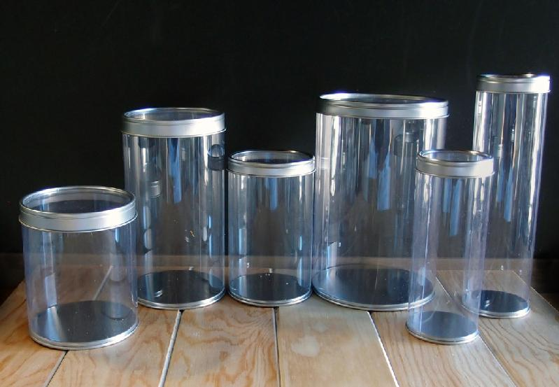 "Clear Cylinder with Tin Lid - 3.9"" x 6.2"""