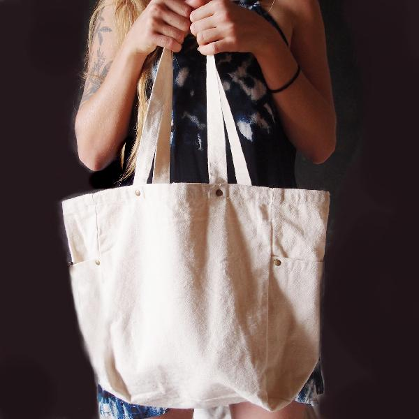 "Natural Washed Canvas Tote Bag - 11.8"" x 11.8"" x 5.9"""