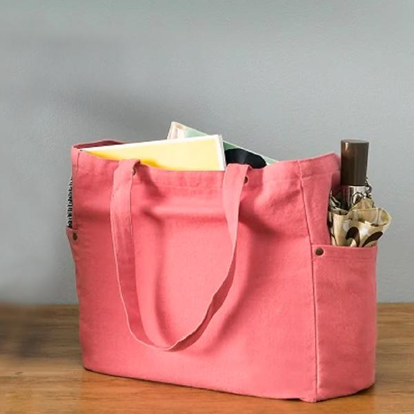 "Coral Red Washed Canvas Tote Bag - 11.8"" x 11.8"" x 5.9"""