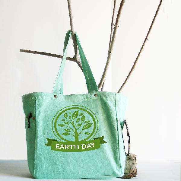 "Mint Green Washed Canvas Tote Bag - 11.8"" x 11.8"" x 5.9"""