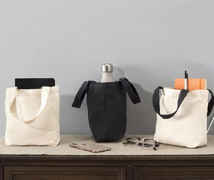 "Small Cotton Canvas Tote  Black Handles - 9.5""x 8"" x 3"""