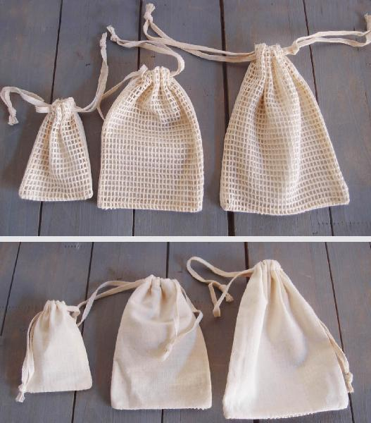 "Cotton Net Drawstring Bag with Fabric Backing 4x6 - 4"" x 6"""
