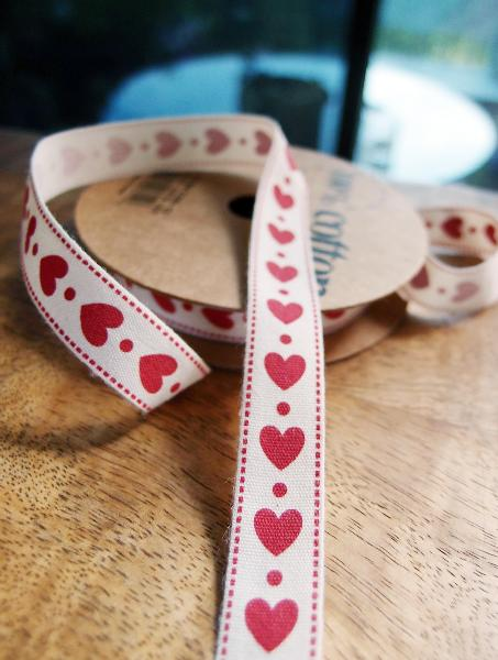 "Red Hearts Printed Cotton Ribbon - 5/8"" x 10Y"