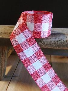 "Red and White Check Faux Linen Ribbon   - 1.5"" x 10yd"