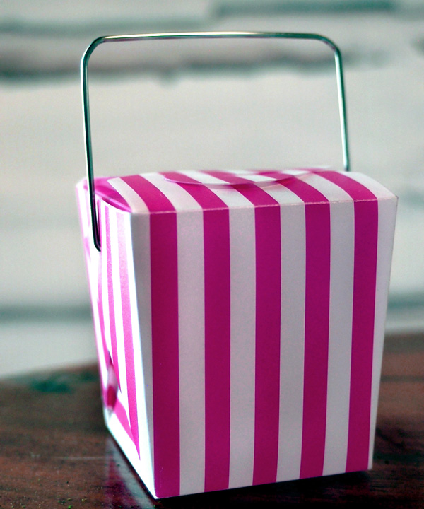 Mini Striped Take Out Boxes