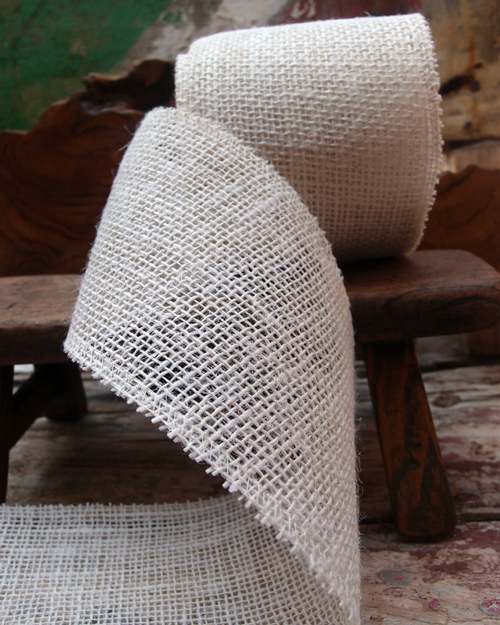 "White Jute Burlap Ribbon - 4"" x 10Y Individually packed. 3 pcs minimum."