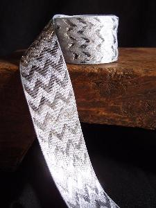 Silver Metallic Chevron Ribbon