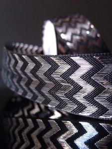 Silver Metallic Chevron on Black Ribbon