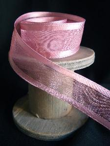 Mauve Sheer Ribbon with Satin Wired Edge