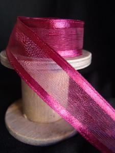 Burgundy Sheer Ribbon with Satin Wired Edge