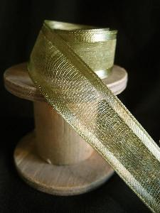 Moss Sheer Ribbon with Satin Wired Edge