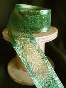 Hunter Green Sheer Ribbon with Satin Wired Edge