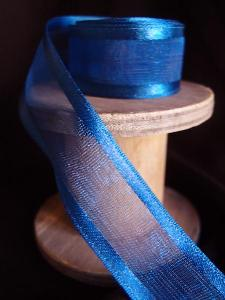 Navy Sheer Ribbon with Satin Wired Edge