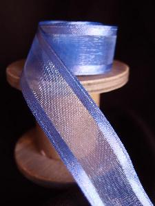 Royal Blue Sheer Ribbon with Satin Wired Edge