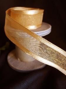 Gold Sheer Ribbon with Satin Wired Edge