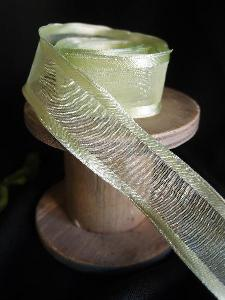 Mint Sheer Ribbon with Satin Wired Edge