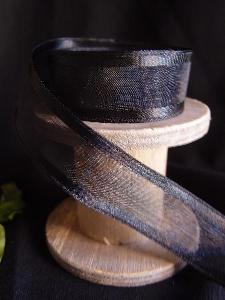 Black Sheer Ribbon with Satin Wired Edge