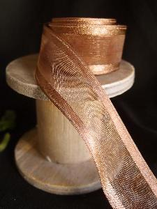 Copper Sheer Ribbon with Satin Wired Edge
