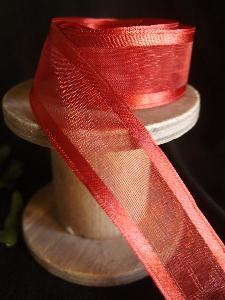 Crimson Sheer Ribbon with Satin Wired Edge