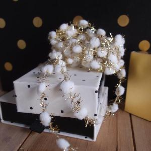Wired White Pom Poms with Gold Tinsel - 10yd