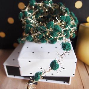 Wired Green Pom Poms with Gold Tinsel - 10yd