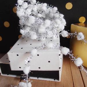Wired White Pom Poms with Silver Tinsel - 10yd