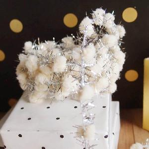 Wired Ivory Pom Poms with Silver Tinsel - 10yd