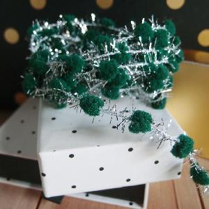 Wired Green Pom Poms with Silver Tinsel - 10yd