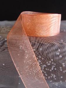 Peach Sheer Ribbon with Monofilament Edge