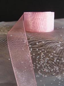 Mauve Sheer Ribbon with Monofilament Edge