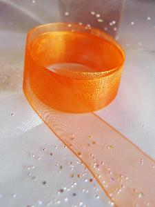 Orange Sheer Ribbon with Monofilament Edge