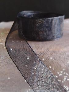 Black Sheer Ribbon with Monofilament Edge