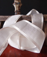 Ivory Faux Linen Ribbon with Satin Edge