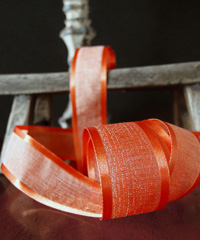Autumn Orange Faux Linen Ribbon with Satin Edge