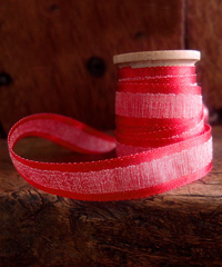 Red Faux Linen Ribbon with Satin Edge