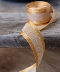 Gold Faux Linen Ribbon with Satin Edge