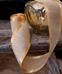 "Gold Faux Linen Ribbon with Satin Edge 7/8"" x 25Y - 7/8"" x 25Y"
