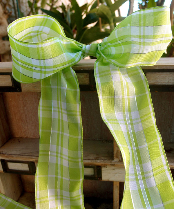 Plaid Wired Ribbon with Metallic Accents