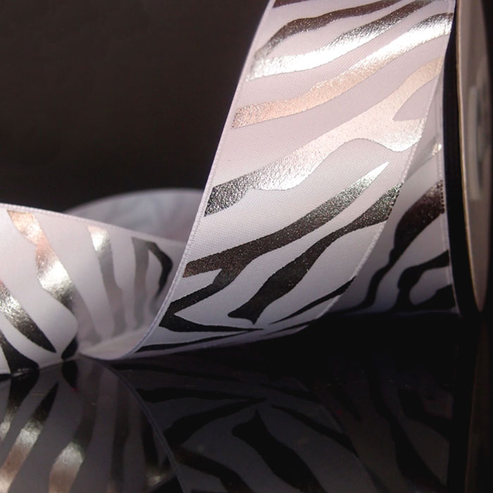 Silver Metallic Zebra Print on White Satin Ribbon