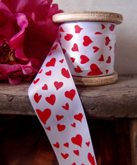 White Satin Ribbon with Red Hearts