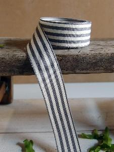"Gray and Ivory Woven Striped Ribbon - 7/8"" x 25Y"