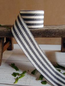 "Gray and Ivory Woven Striped Ribbon - 1.5"" x 25Y"